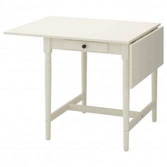IKEA INGATORP Masa cu extensie plianta, alb, 65/123x78