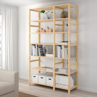 IKEA IVAR 2 sectiuni/polite, pin, 134x50x226 cm