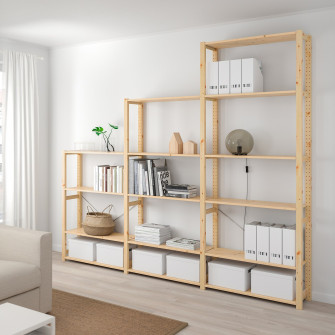 IKEA IVAR 3 sectiuni/polite, pin, 259x30x226 cm