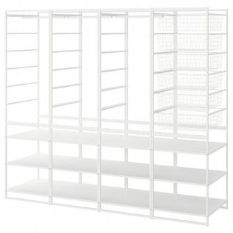 IKEA JONAXEL Cadru/cosuri met/bara um/etajere, 198x51x1