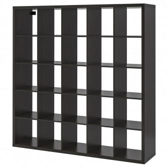 IKEA KALLAX Etajera, negru-maro, 182x182 cm