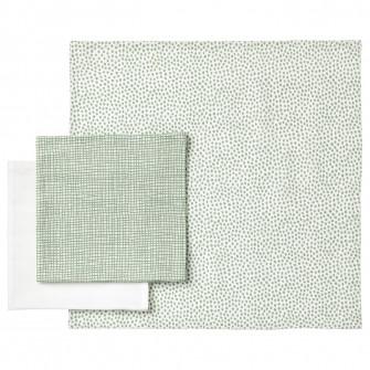 IKEA KLAMMIG Prosop de fata, verde, alb, 3 bucati