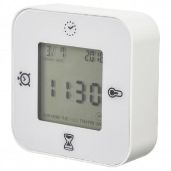 IKEA KLOCKIS Ceas/termometru/alarma/temporizator, alb