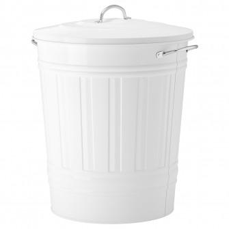IKEA KNODD Cos cu capac, alb, 40 l