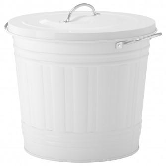 IKEA KNODD Cos cu capac, alb, 16 l