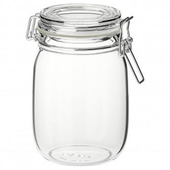 IKEA KORKEN Borcan cu capac, sticla transparenta, 1 l