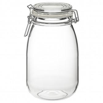 IKEA KORKEN Borcan cu capac, sticla transparenta, 1.8 l