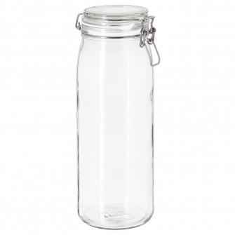 IKEA KORKEN Borcan cu capac, sticla transparenta, 2 l