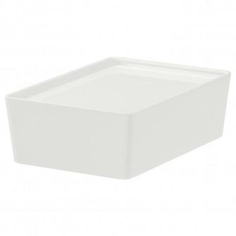 IKEA KUGGIS Cutie cu capac, alb