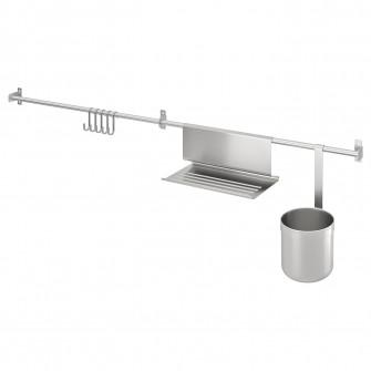 IKEA KUNGSFORS Sine+carlige, suport tableta+recip, inox