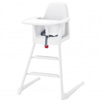 IKEA LANGUR Scaun inalt/junior cu tava, alb