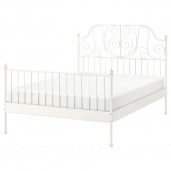 IKEA LEIRVIK Cadru pat, alb, Lonset, 160x200 cm