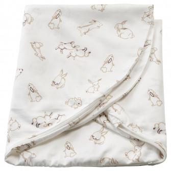 IKEA LEN Husa perna copil, model iepuras, alb, 60x50x18