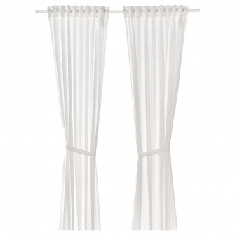 IKEA LEN Perdea cu cordon, 2buc., buline, alb, 120x300