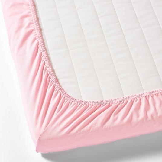 IKEA LEN Cearsaf cu elastic pentru patut, alb, roz, 60x120 cm