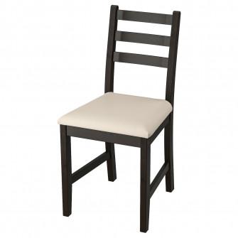 IKEA LERHAMN Scaun, negru-maro, Vittaryd bej