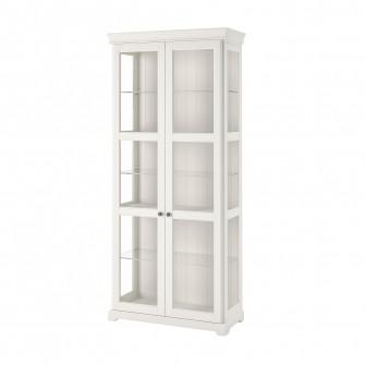 IKEA LIATORP Corp cu usi de sticla, alb, 96x214 cm
