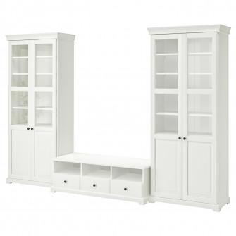 IKEA LIATORP Ansamblu depozitare TV, alb, 331x214 cm