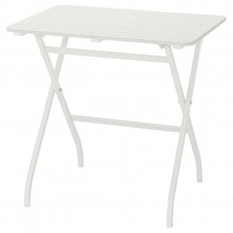 IKEA MALARO Masa exterior, alb pliant alb, 80x62 cm