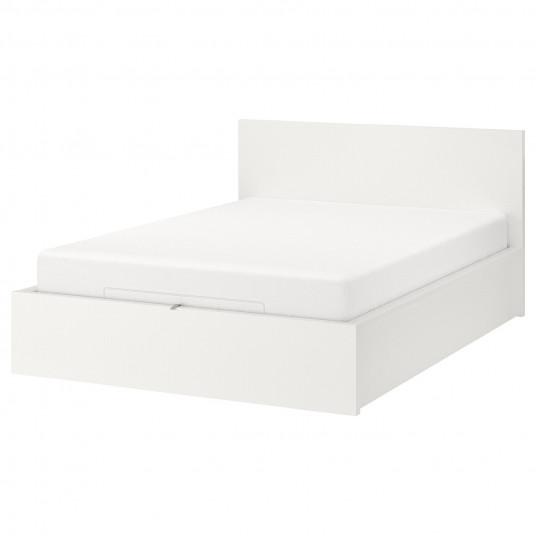 IKEA MALM Pat cu depozitare, alb, 180x200 cm
