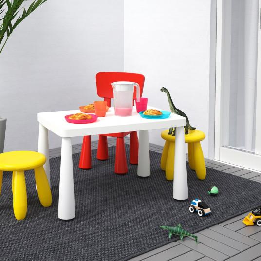 IKEA MAMMUT Masa pentru copii, interior/exterior alb, 77x55 cm