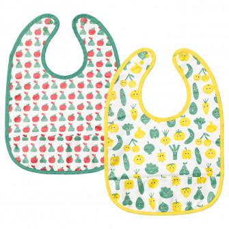 IKEA MATVRA Baveta, model fructe/legume, verde galben