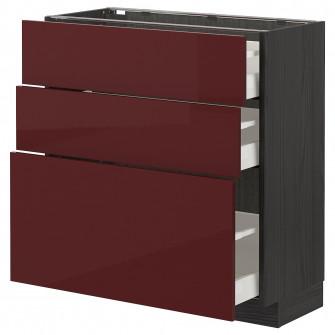 IKEA METOD / MAXIMERA Corp baza cu 3 sertare - negru Ka