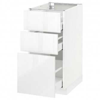 IKEA METOD / MAXIMERA Corp baza cu 3 sertare - alb, Rin
