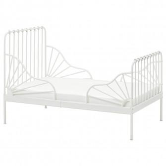 IKEA MINNEN Cadru pat cu somiera, alb, 80x200 cm