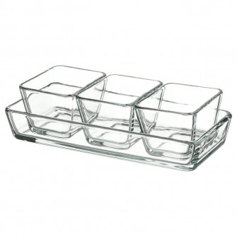 IKEA MIXTUR Set vase cuptor/servit, 4buc, sticla transp