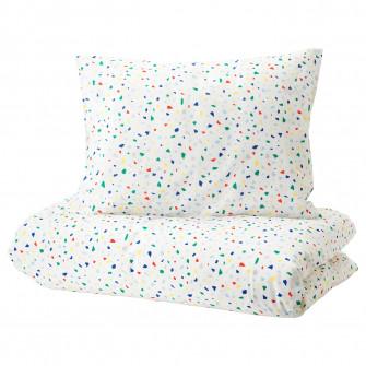 IKEA MOJLIGHET Husa pilota+fata perna, alb, mozaic, 150