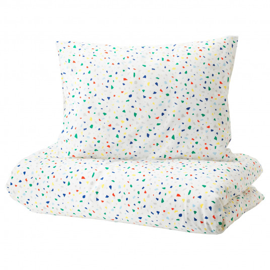 IKEA MOJLIGHET Husa pilota+fata perna, alb, mozaic, 150x200/50x60 cm