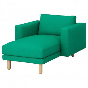 IKEA NORSBORG Sezlong, Edum verde deschis, mesteacan