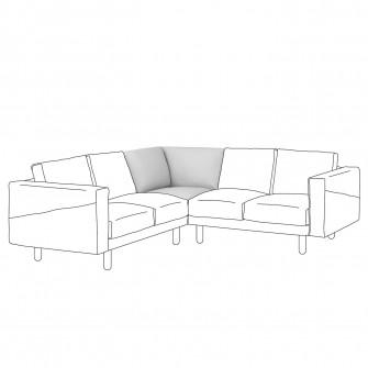IKEA NORSBORG Sectiune colt, Finnsta alb, mesteacan