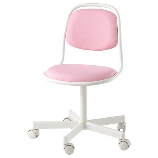 IKEA ORFJALL Scaun birou copii, alb, Vissle roz