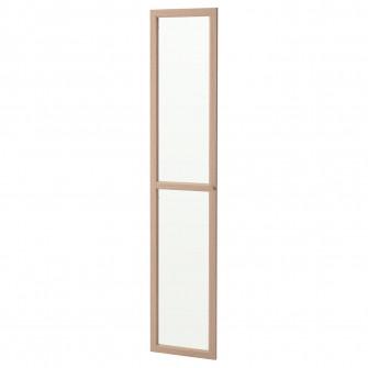 IKEA OXBERG Usa sticla, furnir stejar alb, 40x192 cm