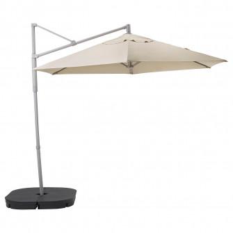 IKEA OXNO / LINDOJA Umbrela soare suspendata+baza, bej,