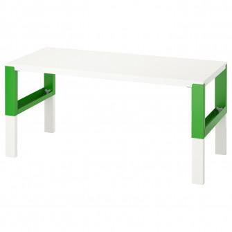 IKEA PAHL Birou, alb, verde, 128x58 cm