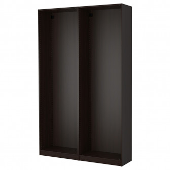 IKEA PAX 2 cadre dulap, negru-maro, 150x35x236 cm