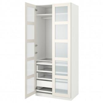 IKEA PAX / BERGSBO Combinatie dulap, alb, stcl mt, 100x