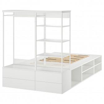 IKEA PLATSA Cadru pat cu 4 sertare, alb, Fonnes, 140x24
