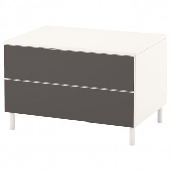IKEA PLATSA Comoda 2 sertare, alb, Skatval gri inchis,