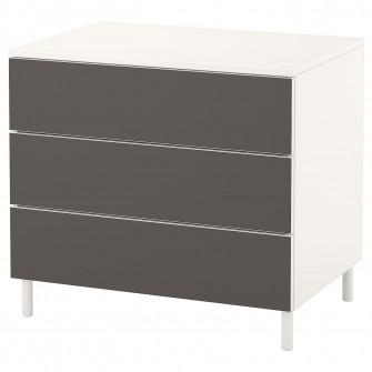 IKEA PLATSA Comoda 3 sertare, alb, Skatval gri inchis,