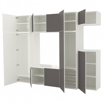 IKEA PLATSA Dulap, alb, Skatval gri inchis, 300x57x243