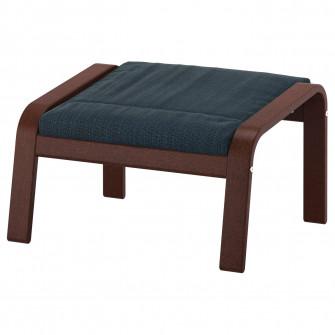 IKEA POANG Taburet, maro, Hillared albastru inchis