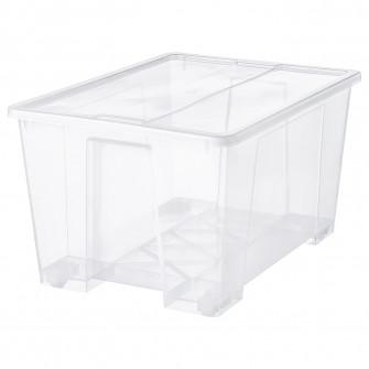 IKEA SAMLA Cutie cu capac, transparent, 79x57x43 cm/130