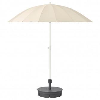 IKEA SAMSO Umbrela+baza, bej, Gryto gri inchis, 200 cm