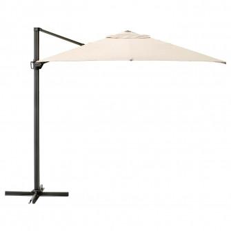 IKEA SEGLARO Umbrela de soare, bej, inclinat, 330x240 c