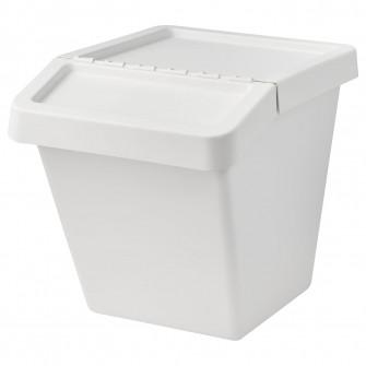 IKEA SORTERA Cos sortare deseuri+capac, alb
