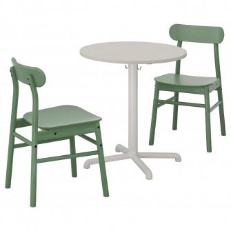 IKEA STENSELE / RONNINGE Masa + 2 scaune, gri gri, verd